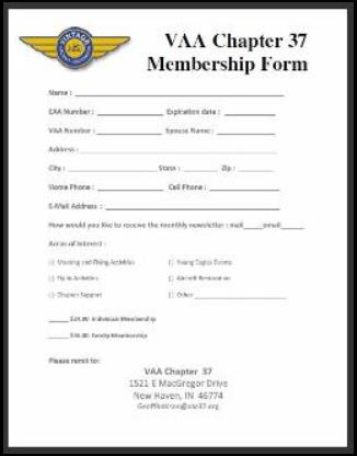 VAA 37 Membership Form